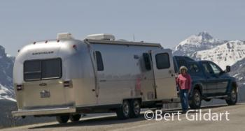 Airstream backdropped by Divide Peak