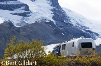 Our Airstream surrounded by glaciers